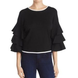 Marled Reunited Tiered Ruffle Sleeve Sweater Black